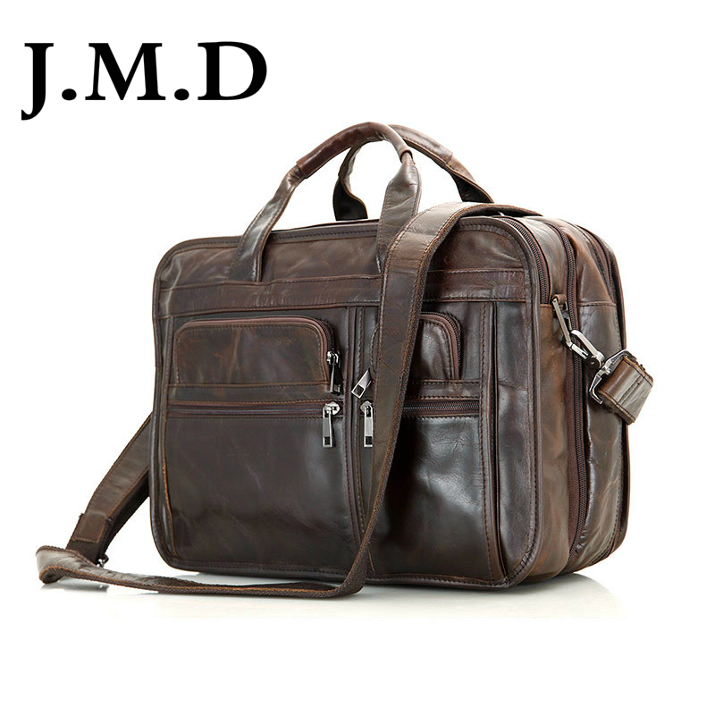 J.m.d 100% genuino dell'annata sacchetto del messaggero della spalla in pelle da uomo chocolate cartella porta pc borse 7093