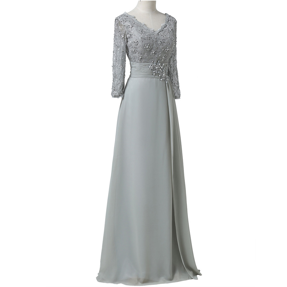 Grace Karin Chiffon Lace Mother of the Bride Dresses 3/4 Sleeve Double V Neck Floor Length Grey Beading Formal Mother Prom Dress 9