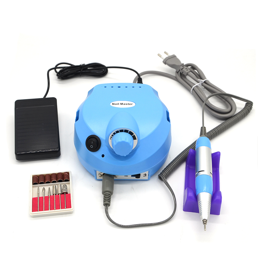 Nail Master Professional 30000RPM Blue 220V EU Plug Electric Nail Drill File Bits Machine 110V US Plug Manicure Kit Nail Tools цена