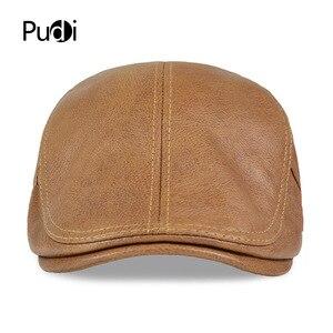 Image 2 - HL046  Men Genuine Leather Newsboy Hat Cap Gatsby Flat Golf Cabbie Baker Beret Retro brand new mens baseball cap