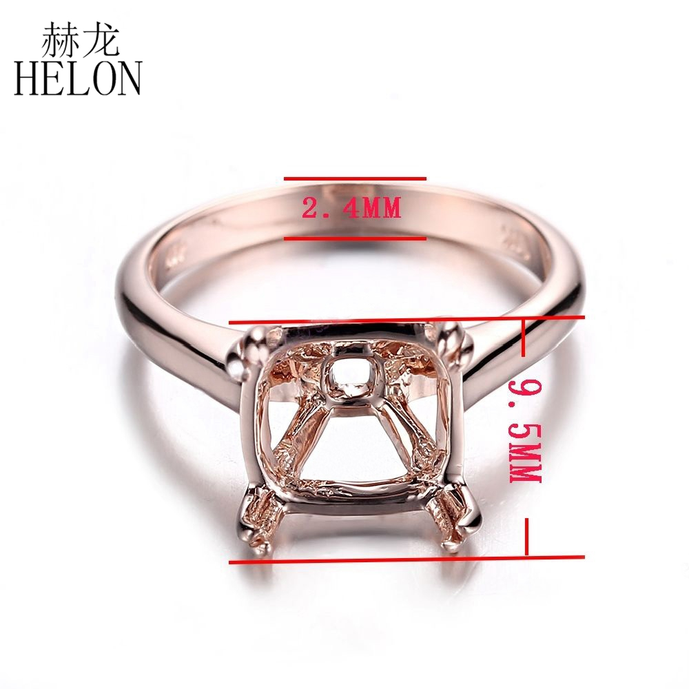 HELON Miss! 9mm Cushion Cut Solid 14k Rose Gold Solitaire Engagement Wedding Semi Mount Fine Jewelry Ring Prong Setting