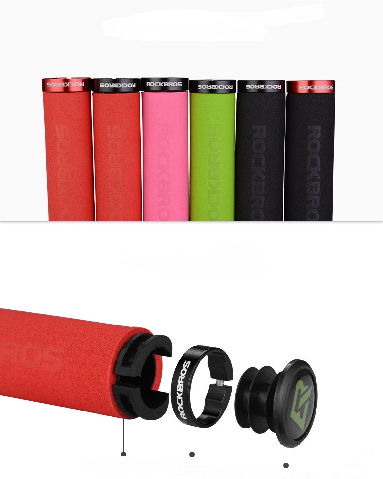 ROCKBROS Bicycle Grips MTB Silicone Sponge Handlebar Grips Anti-skid Shock-absorbing Soft Bike Grips Cycling Handlebar