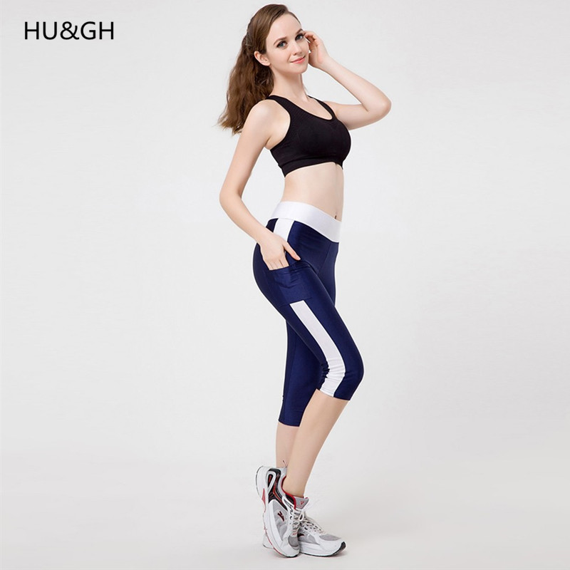 HU&GH Women Sexy zippe Pocket Leggings Fitness Capri Pants Reflective Leggins Slim Women's Workout Trousers Quick-dry Activewear