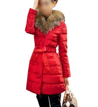 2017 NEW Red Long down cotton trench coat double Breasted padded jacket belt fur