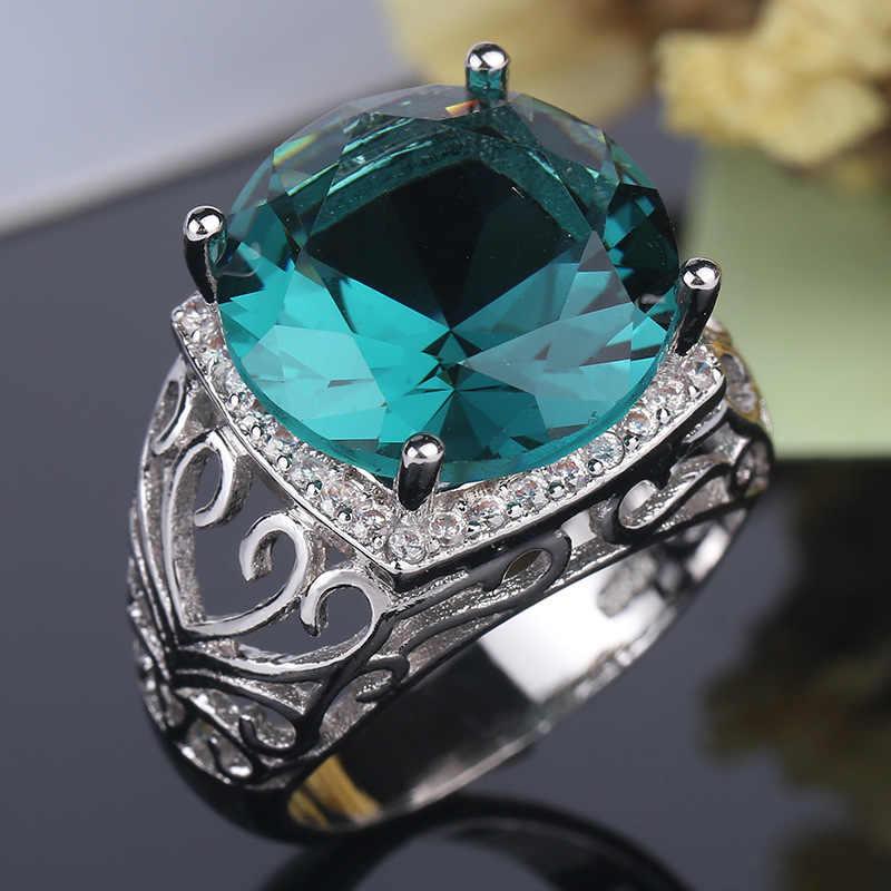 Clássico Verde Zircon Do Anel de Casamento para As Mulheres Micro-embutidos Simulação Retro Oco Belas 925 Sterling Silver Jewelry Anel de Moda