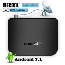 Tv smart tv box android DVB S, televisão com amlogic s905d 1g rom 8g ram 2.4g wi fi 100m dvb s/s2 mini m8s plus dvb player de mídia via satélite