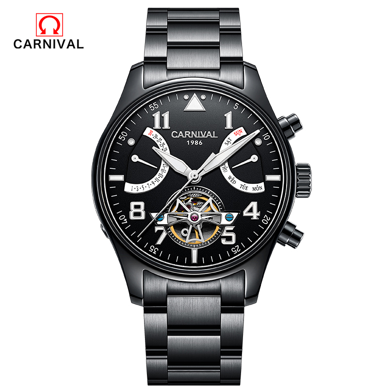 цена на Carnival2018Famous Brand wristwatch New luxury brand Men wristwatch Unique Design Style Automatic mechanical Watches Switzerland