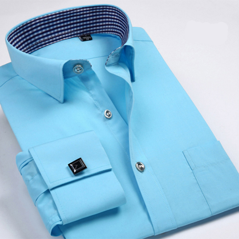 Aoliwen Brand Men French Cuff Shirt Long Sleeve Solid Color Dress Shirt For Men Large Size 6XL Flannel Business Casual Shirts