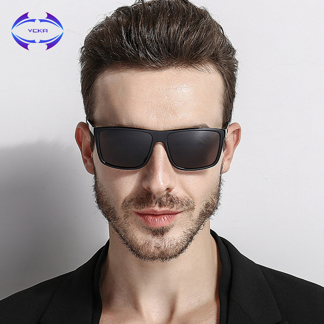 a4af38e53e97 VCKA Fashion Polarized Sunglasses Men Square Glasses Brand Classic Women  Coating Points Black Frame Sun Glasses