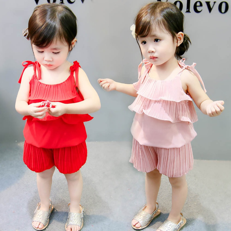 Girls' Clothing Clothing Sets Bright Summer Bebe Clothing Suit Girl Sleeveless Vest Top shorts Casual Clothes Dresses Beach Child Girls Clothes Sets For 1-4y