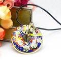 Mais recente rodada Russian Doll projeto esmalte jóias pingente de colar, 1 unidades/pacote