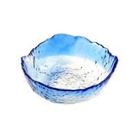 Large Transparent Blue Glass Bowls Irregular Bowls Fruit Dessert Salad Bowls and Tea Dishes Extremely Frozen Ice Crack Pot