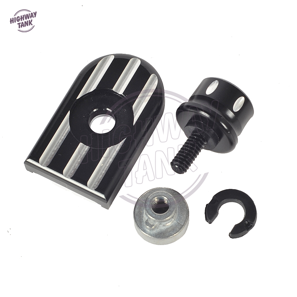 Black Edge Cut Motorcycle Seat Bolt Tab Screw Mount Knob Cover Nut Case for Harley Touring Road King 1996-2015 nut off bolt screw close up magic trick micro psychic rotating