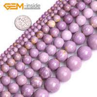 """4/6/8/10/12/14/16mm púrpura Natural Phosphosiderite piedra de gema ESPACIADOR redondo Semi precioso cuentas sueltas para hacer joyas de 15"""""""