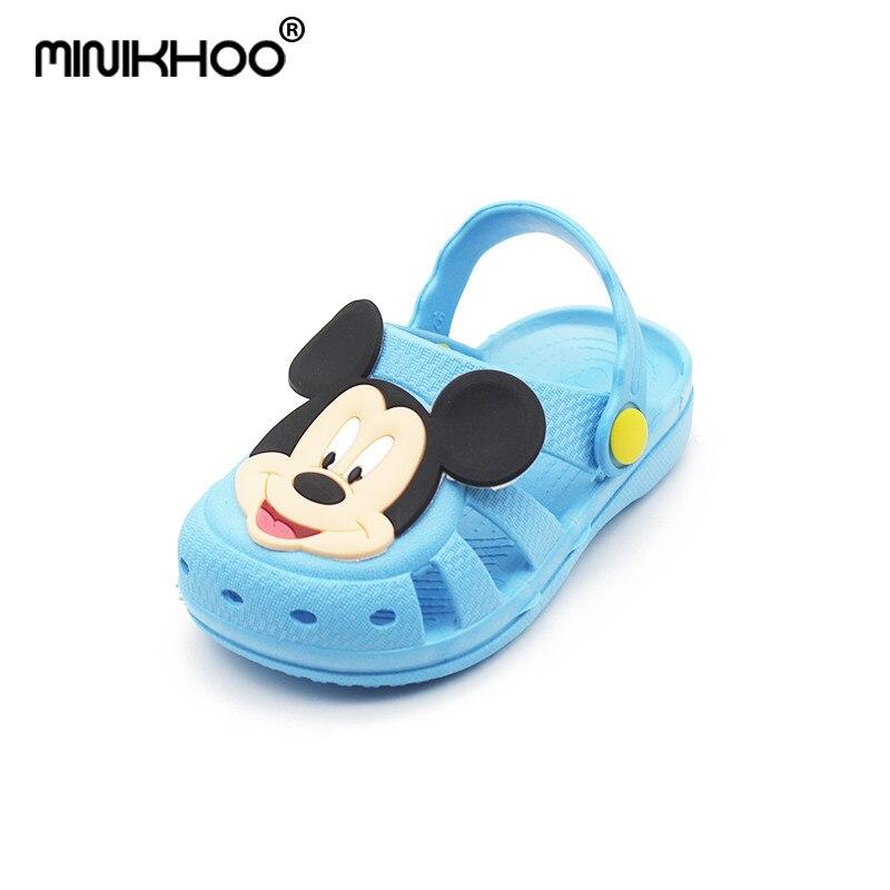 Mini Melissa Mickey & Minnie Pattern Girls Sandals Soft 2018 Summer Baby Sandals Girls Beach Sandals Anti-skid Melissa Sandals