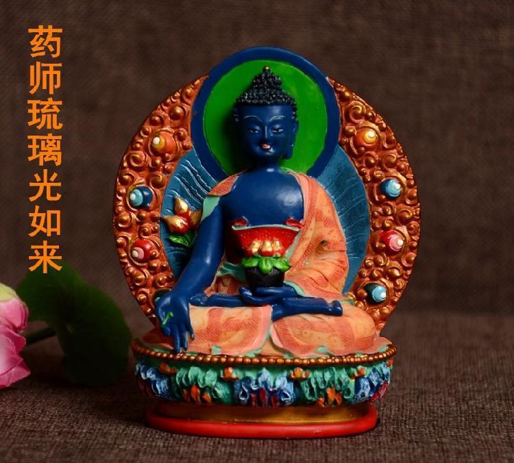 Resin Buddha Statue Bhaisajyaguru Figure Bhaisajya Buddha Figurine Medicine Buddha Bodhisattva Good Luck