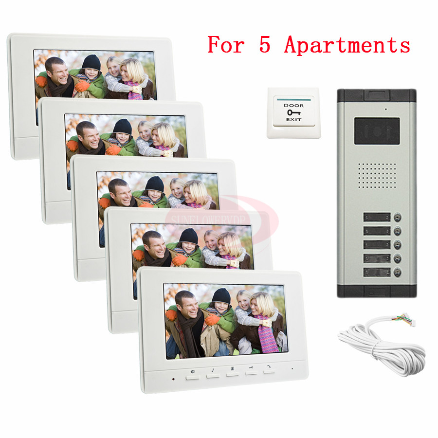 For 5 Apartments Luxury Home Color Video Door Phone Intercom Kit DoorBell 7 LCD Monitor DoorPhone IR Camera In Stock! rfid keyboard ip65 waterproof video doorphone intercom system for 3 apartments with 7 color lcd video intercom system in stock