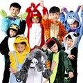 Unisex Crianças dos miúdos Das Meninas Dos Meninos Traje Cosplay Pijama Animal Macacão Casa Sleepwear Pikachu Dinosaur Tiger