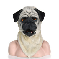 Halloween Masquerade Costume Lovely Pug dog Face Mask Realistic Animal Head Mask
