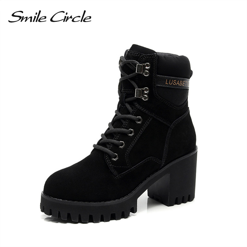 Smile Circle big size 33-43 Suede Leather Chunky Boots Women High Heel Shoes Autumn Winter Lace-up Lady Shoes platform boots bonjomarisa big size 33 43 british women ankle boots round toe platform shoes lace up thick high heel shoes autumn winter boot