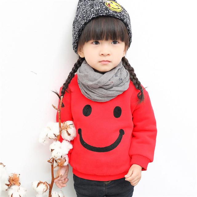 1-5 T Meninos Das Meninas Do Bebê Camisola de Algodão de Manga Longa Crianças Hoodies Hoodies Veludo Inverno Outono Crianças Bebe Moletom bebê Sorriso