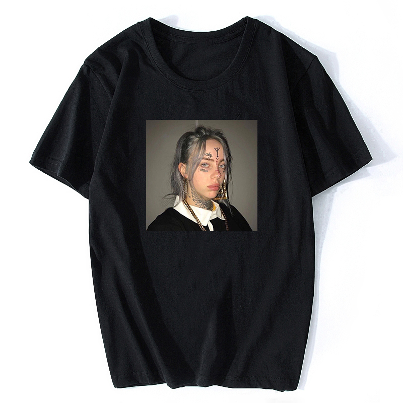 Billie Eilish Music Vintage T Shirt 100% Cotton Short Sleeve Music T-shirts For Men/Women New2019 XXXL Mens Cool T Shirts