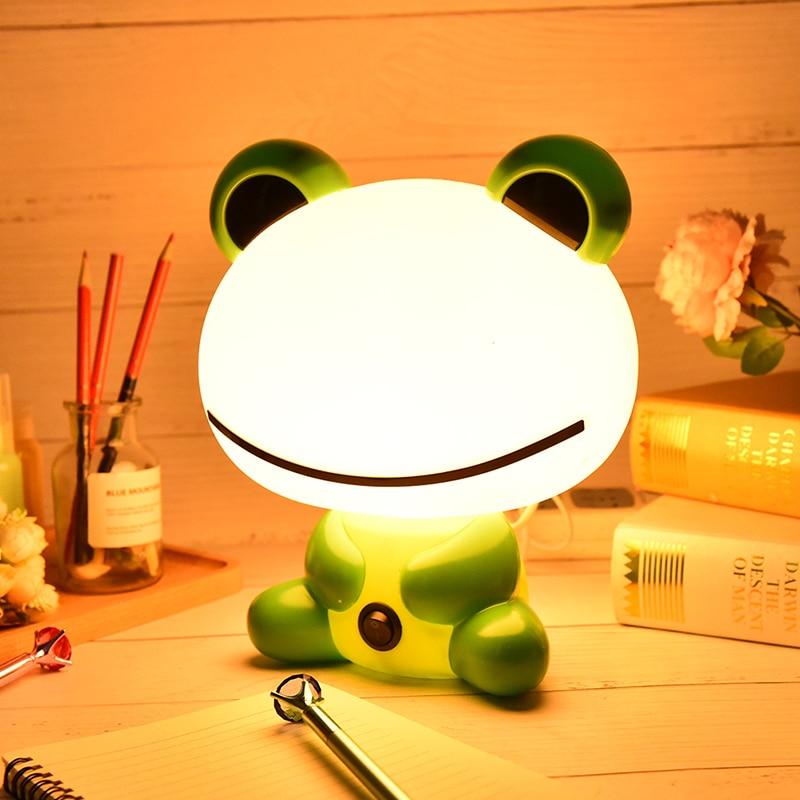 Bed Lamp Sleeping Night Cartoon Frog Table Lamps LED Night Light Kids Lamp With Bulb Baby Feeding NightLights Desk Night Lights