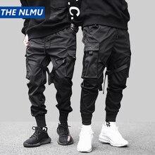 היפ הופ שחור מכנסי עיפרון גברים מכנסיים מטען גברים Streetwear כיסי הרמון רצים 2019 אביב אופנה Mens מכנסיים סרט HD070