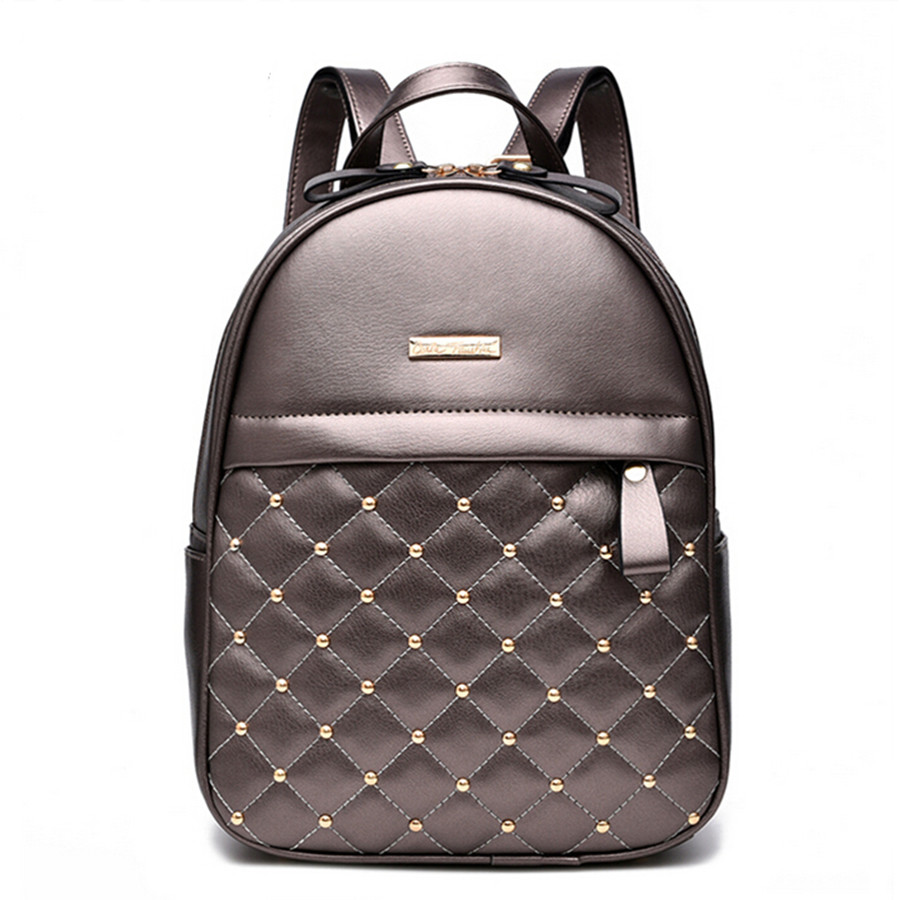 Women Backpacks Fashion Causal Bags High Quality Rivet Bead Female Shoulder Bag PU Leather Backpacks For