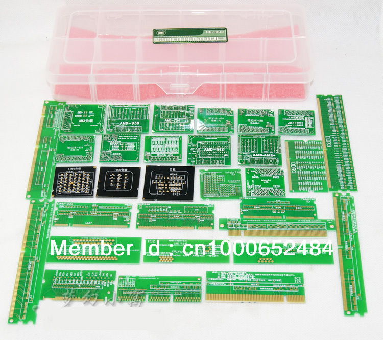 Free shipping 2014 New 36/pcs set PC Debug kit CPU socket dummy load,mini pci,pci-e,DDR slot tester kit tools for desktop laptop desktop cpu 940 socket tester cpu socket analyzer dummy load fake load with led