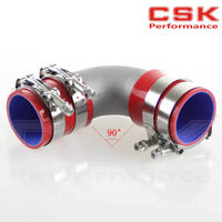 63mm 2.5 Cast Aluminum 90 Degree Elbow Pipe Turbo Intercooler+ silicone hose kit RED