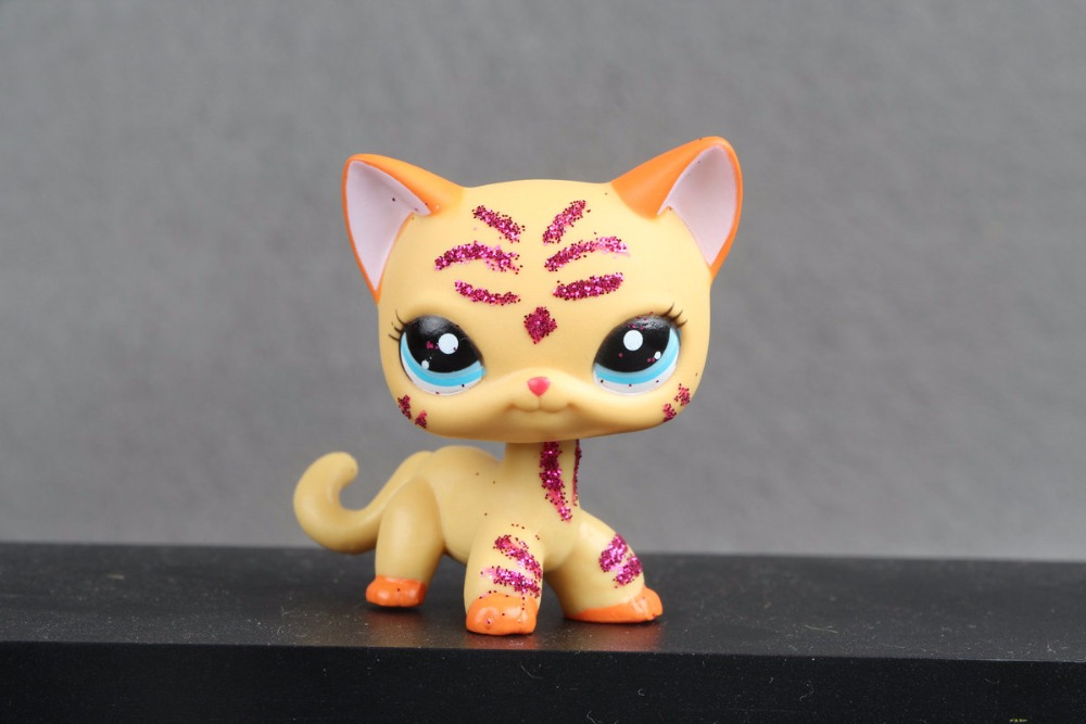 New Pet Collection Figure LPS Blue Eye Sparkle Short Hair Cat #2118 Rare Toys new pet genuine original lps 64 rare pink white short hair cat kitty blue eyes collection figure toys