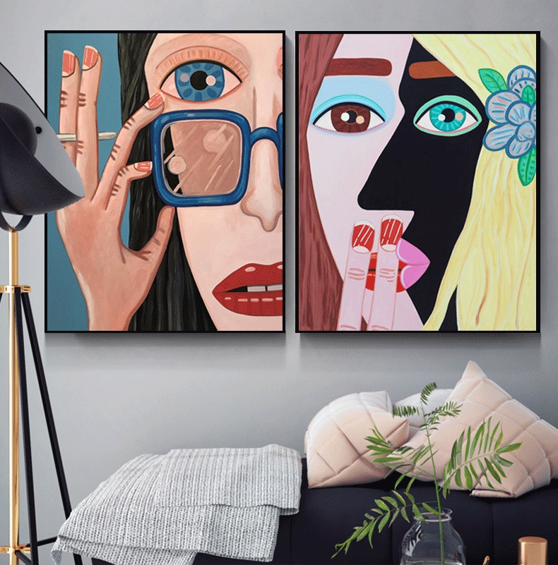 Abstract Illustration Girl Wall Art Canvas Painting Nordic Poster Posters And Prints Pictures For Living Room Unframed