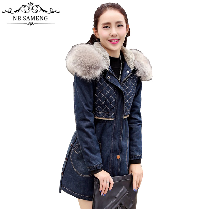 Spring Denim Jacket Coat 2017 Women Fur Collar Hooded Lamb Cotton-padded Winter Thick Warm Jeans Parka Casual Oversized цены онлайн