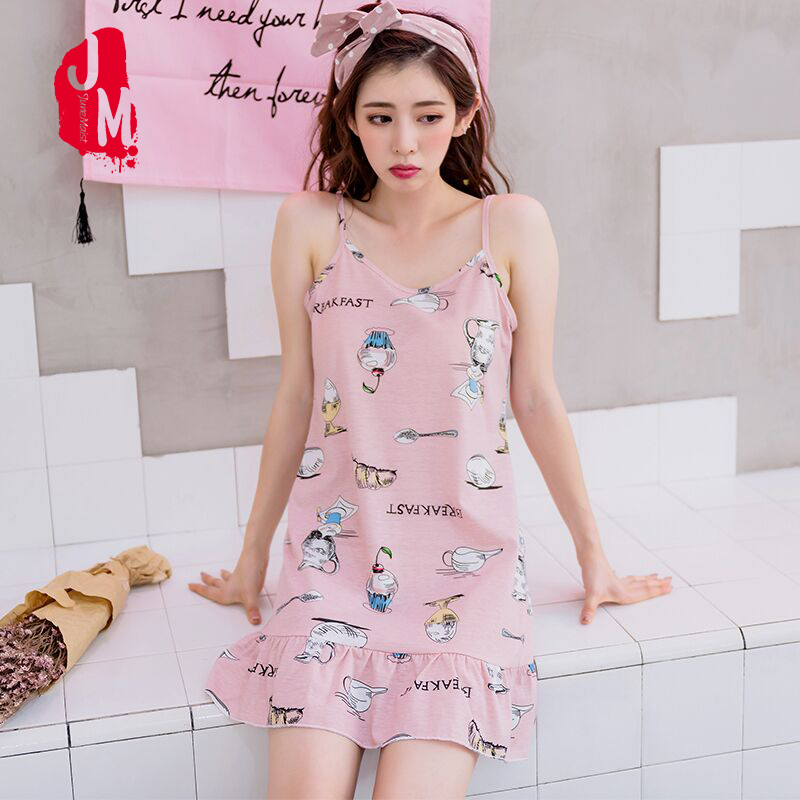99ebe90115 Cotton Nightgowns Women Sleeveless Strap Nightdress Summer Cute Cartoon  Sleepwear Casual Home Dress Night Shirt Plus Size XXXXL