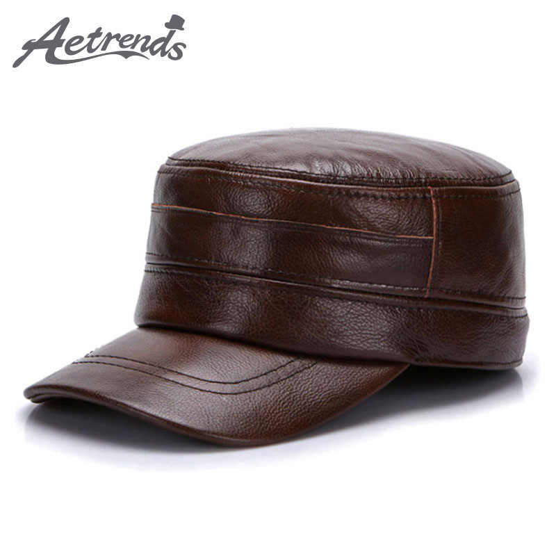 [AETRENDS] Winter 100% Leather Military Cap Men Sailor Captain Caps Genuine Leather Military Hats Z-5490