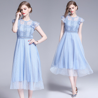 womens woman ladies Designer summer sexy lace runway slim Skater party Cocktail office work wear midi dress clothes for womwn