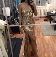BKLD Spaghetti Strap Dresses 2017 Autumn Sexy Deep V Neck High Slits Bustier Dress Gold Sequined