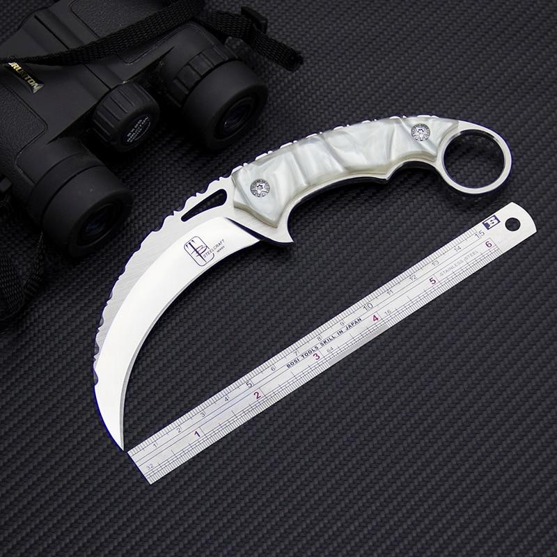 Couteau Karambit Toplu EDC 9Cr18Mov couteau de Jungle tactique en acier couteaux de sauvetage en plein air couteaux de Camping auto-défense outils de chasse