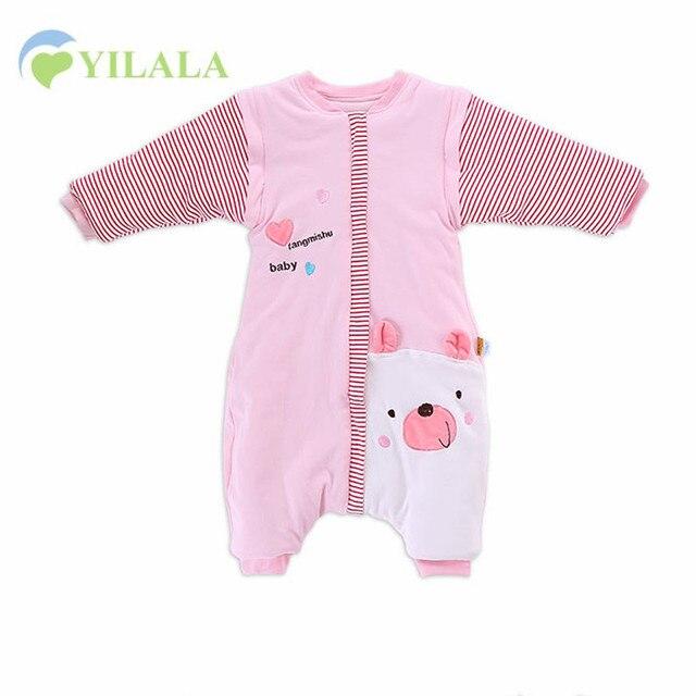 Soft Warm Baby Girls Sleeping Bag Bear Print Children Sleep Bag Removeable Sleeve Cotton Baby Clothes Winter Baby Boys Clothing