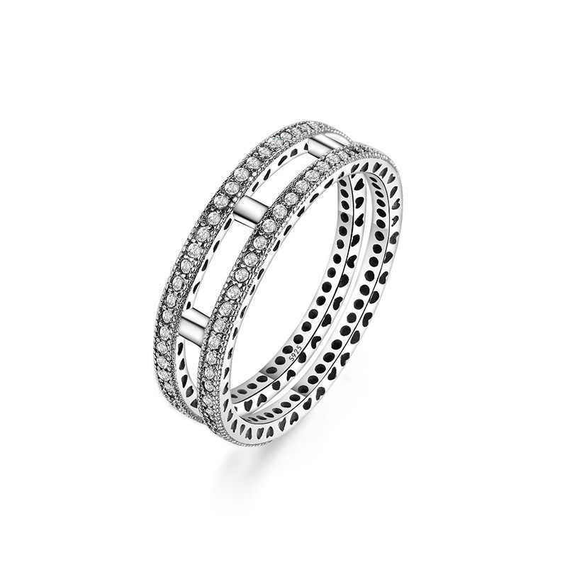 925 แหวนเงินดอกไม้พลัมดอกไม้คริสตัลสีม่วงแหวนนิ้วมือผู้หญิงเครื่องประดับ