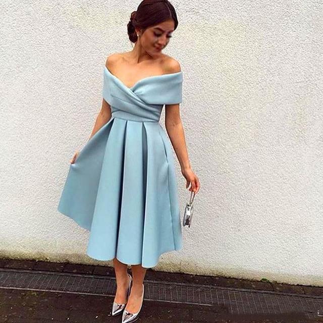 39355736de7 Arabic New Tea-Length Short Prom Dress Sexy V Neck Off Shoulder Light Sky  Blue Satin Simple Pretty Homecoming Dress Custom Made