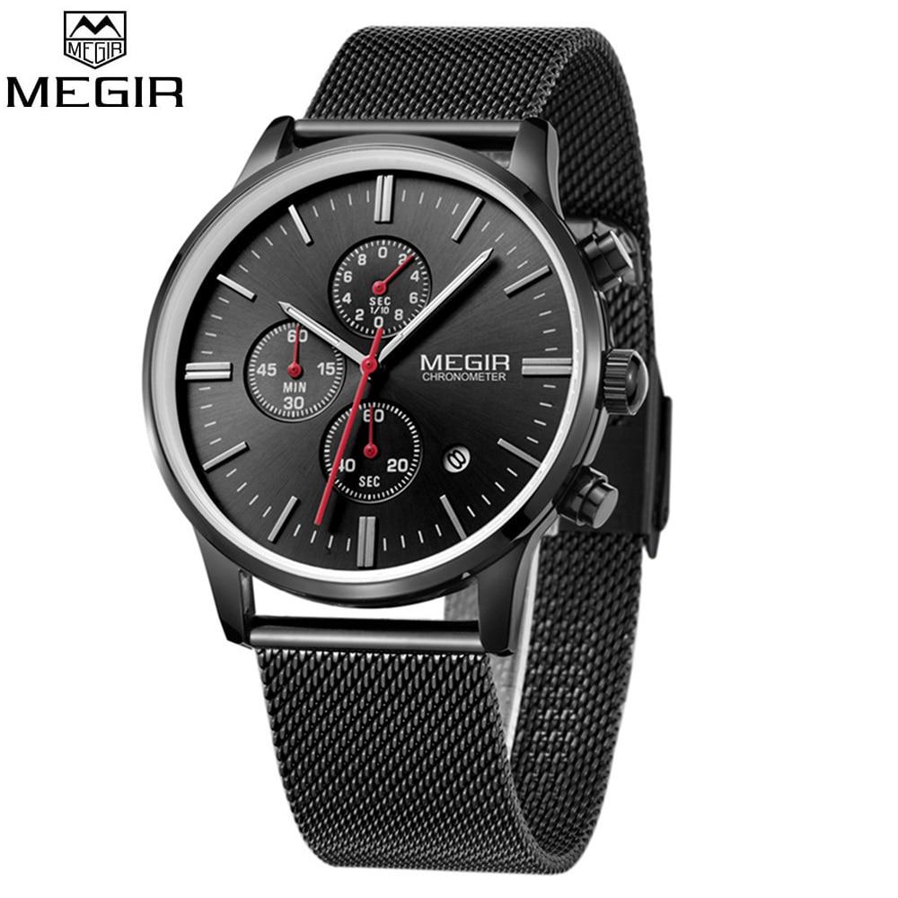 Fashion Simple Stylish Top Luxury brand MEGIR 2011 Watches Men Stainless Steel Mesh Strap Quartz-watch thin Dial Clock Man Watch