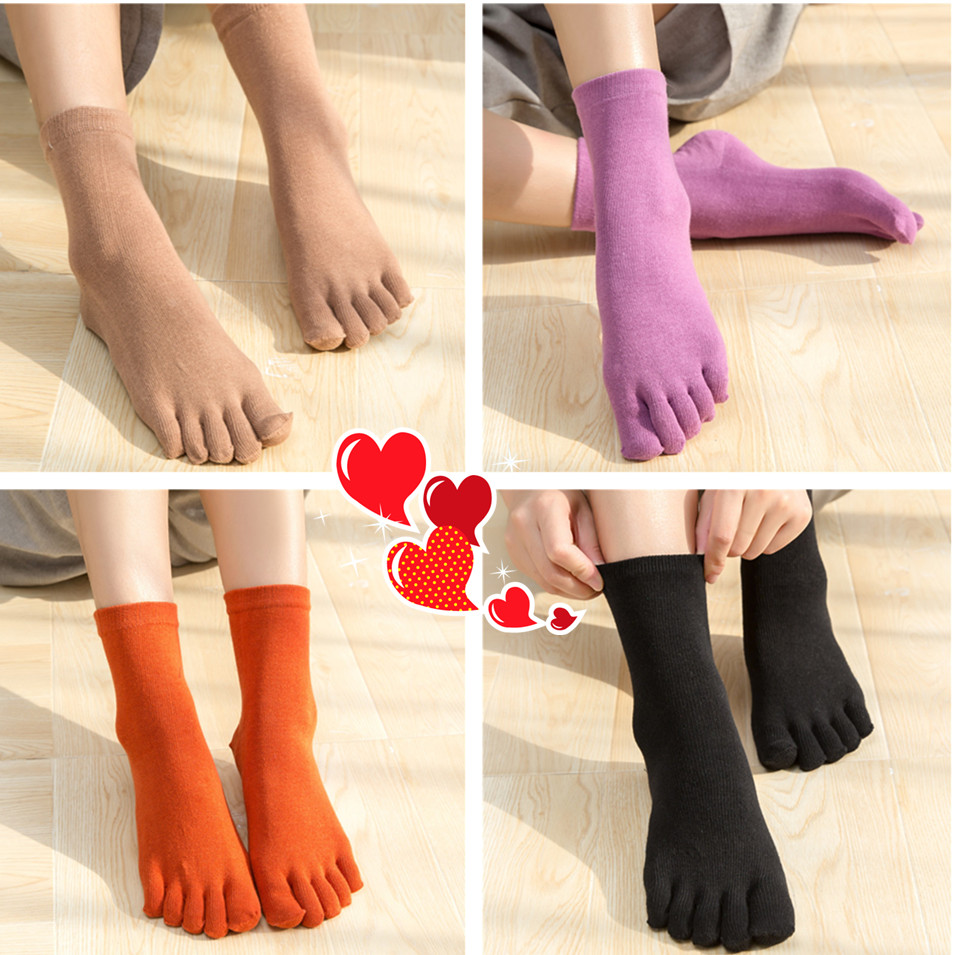 Classic Pure Color Lady Cotton Five Finger Socks 5 Finger Pure Cotton Female Cute Novelty Socks With Separate Toes
