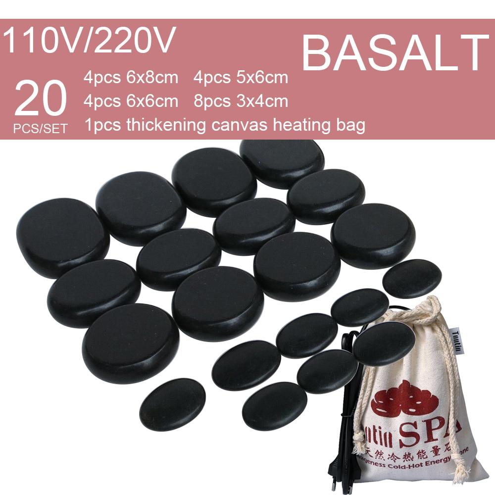 New Natural Energy massage basalt stone hot spa rock with 220 & 110V Canvas heating bag 20pcs per set