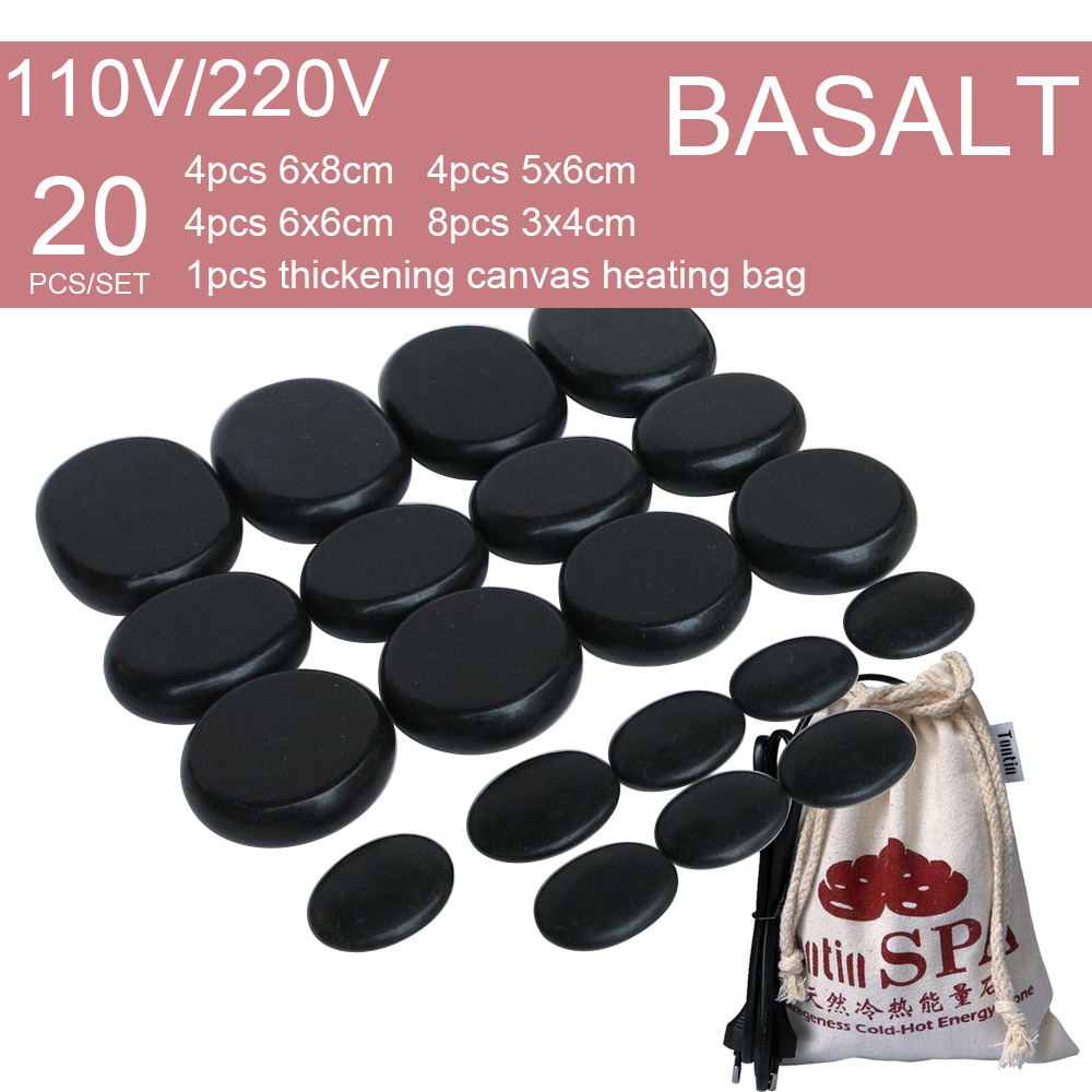 New Natural Energy massage basalt stone hot spa rock with 220 & 110V Canvas heating bag 20pcs per set