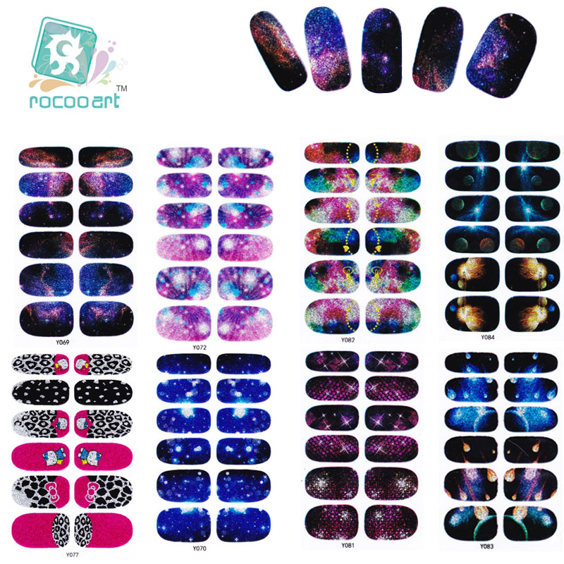 Rocooart Y5061-5088 Sexy Evening Glitter Manicure Galaxy Meteor Powder Acrylic Sticker Nail Art Stickers Nail Foil Decals Beauty rocooart y5041 5060 adhesive nail art stickers fashion pink nail foil sticker fashion manicure glitter decor nail wraps decal