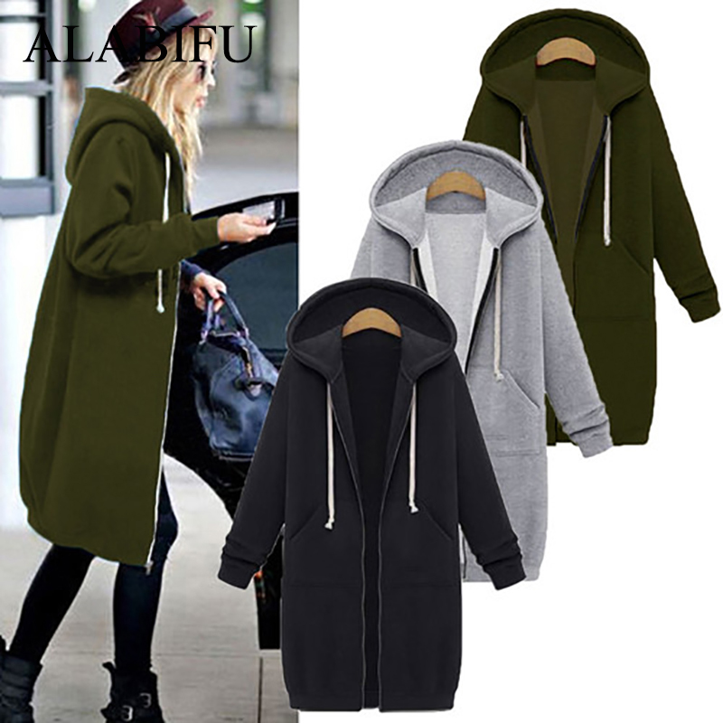 ALABIFU Spring 2019 bts Hoodie Zipper Long Coat Sweatshirt Women Plus Size 5XL Casual Loose Oversized Jacket Coat Women Hoodies(China)