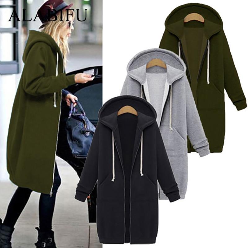 ALABIFU Spring 2019 bts Hoodie Zipper Long Coat Sweatshirt Women Plus Size 5XL Casual Loose Oversized Jacket Coat Women Hoodies