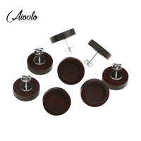 20pcs/lot Brown Blank Wood Cabochon Earring Base Stainless Steel Post Stud Earrings Settings Fit 12mm for Diy Jewelry Findings